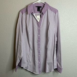 Purple and white stripped button up sz 24